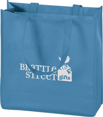 Cool Blue Non-Woven Tote Bags, 13 x 5 x 13""