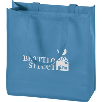 Cool Blue Non-Woven Tote Bags, 13 x 5 x 13