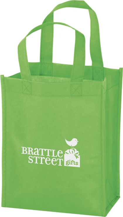 """Lime Non-Woven Tote Bags, 8 x 4 x 10"""""""