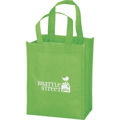 Lime Non-Woven Tote Bags, 8 x 4 x 10
