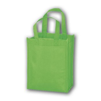 Lime Unprinted Non-Woven Tote Bags, 8 x 4 x 10
