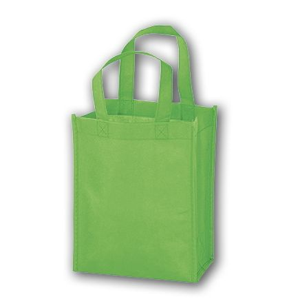 Lime Unprinted Non-Woven Tote Bags, 8 x 4 x 10""