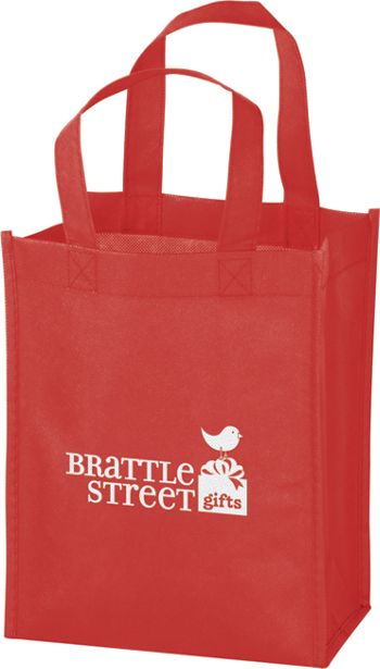 Red Non-Woven Tote Bags, 8 x 4 x 10