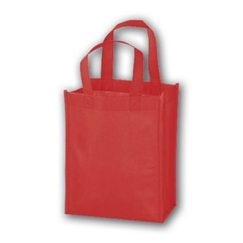 Red Unprinted Non-Woven Tote Bags, 8 x 4 x 10