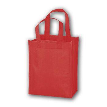 Red Unprinted Non-Woven Tote Bags, 8 x 4 x 10