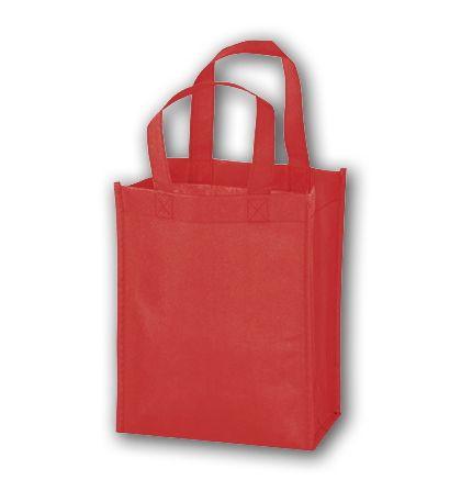 "Red Unprinted Non-Woven Tote Bags, 8 x 4 x 10"""
