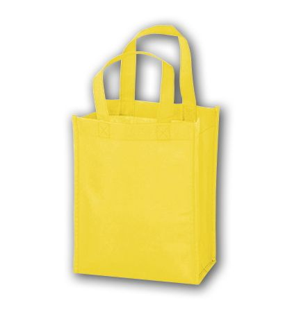 Yellow Unprinted Non-Woven Tote Bags, 8 x 4 x 10""