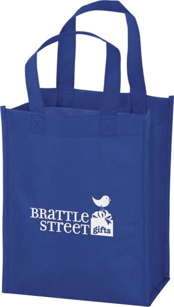 Royal Blue Non-Woven Tote Bags, 8 x 4 x 10