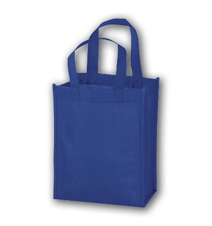 Royal Blue Unprinted Non-Woven Tote Bags, 8 x 4 x 10""