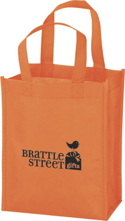 """Orange Non-Woven Tote Bags, 8 x 4 x 10"""""""