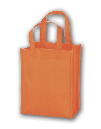 Orange Unprinted Non-Woven Tote Bags, 8 x 4 x 10