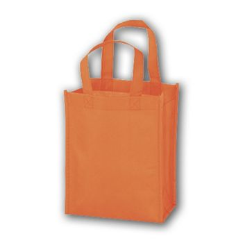 Orange Unprinted Non-Woven Tote Bags, 8 x 4 x 10""