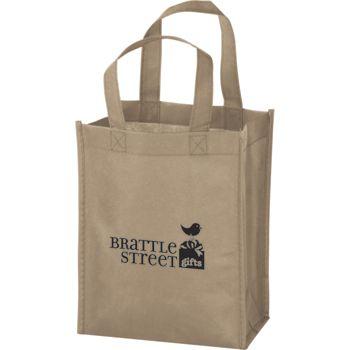 Tan Non-Woven Tote Bags, 8 x 4 x 10