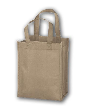 Tan Unprinted Non-Woven Tote Bags, 8 x 4 x 10