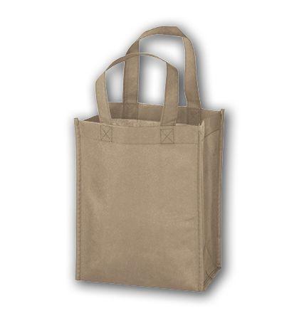 "Tan Unprinted Non-Woven Tote Bags, 8 x 4 x 10"""