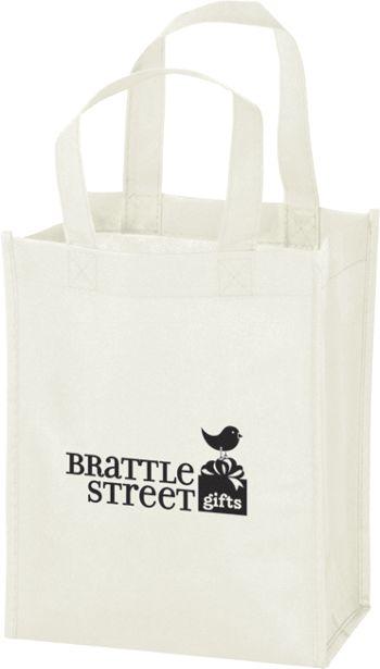 White Non-Woven Tote Bags, 8 x 4 x 10