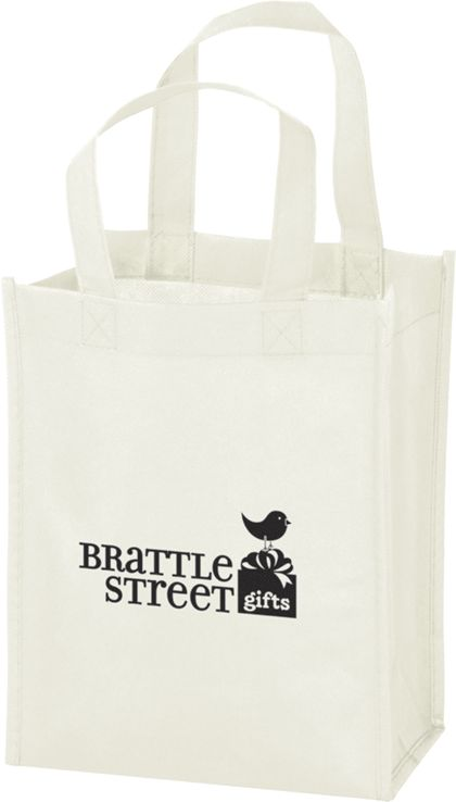 "White Non-Woven Tote Bags, 8 x 4 x 10"""