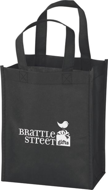 Black Non-Woven Tote Bags, 8 x 4 x 10