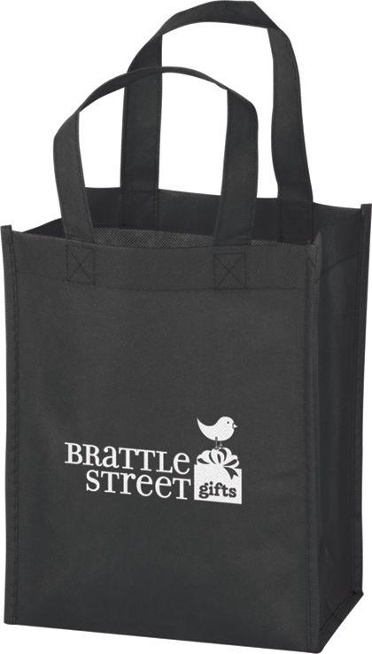 """Black Non-Woven Tote Bags, 8 x 4 x 10"""""""