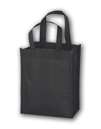 Black Unprinted Non-Woven Tote Bags, 8 x 4 x 10