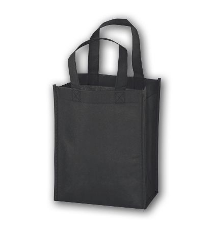 """Black Unprinted Non-Woven Tote Bags, 8 x 4 x 10"""""""