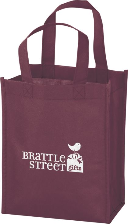 Burgundy Non-Woven Tote Bags, 8 x 4 x 10""