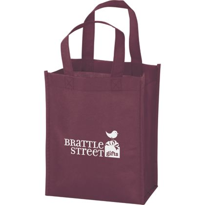 Burgundy Non-Woven Tote Bags, 8 x 4 x 10
