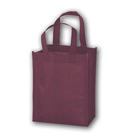 "Burgundy Unprinted Non-Woven Tote Bags, 8 x 4 x 10"""