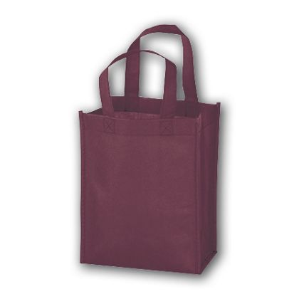 Burgundy Unprinted Non-Woven Tote Bags, 8 x 4 x 10