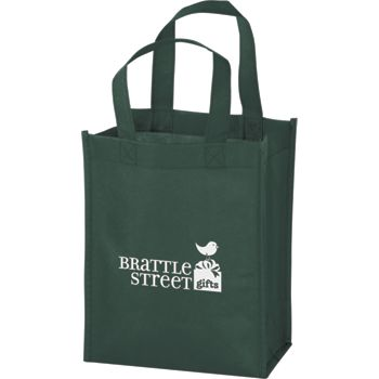Hunter Green Non-Woven Tote Bags, 8 x 4 x 10