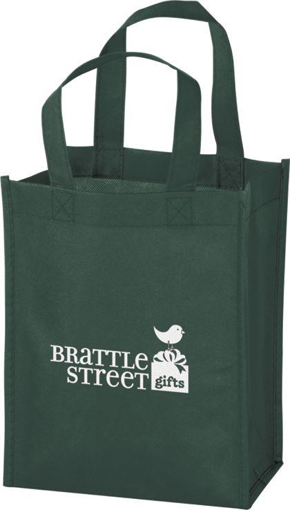"""Hunter Green Non-Woven Tote Bags, 8 x 4 x 10"""""""