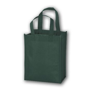 Hunter Green Unprinted Non-Woven Tote Bags, 8 x 4 x 10