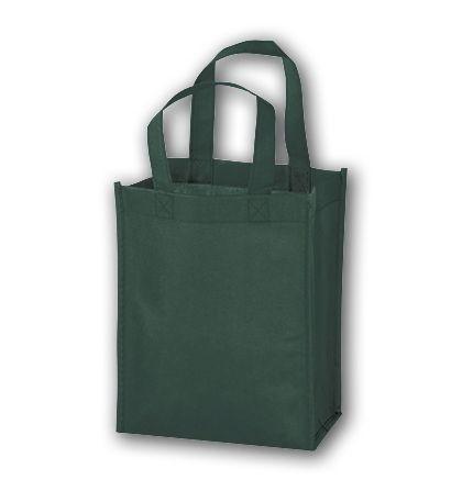 """Hunter Green Unprinted Non-Woven Tote Bags, 8 x 4 x 10"""""""