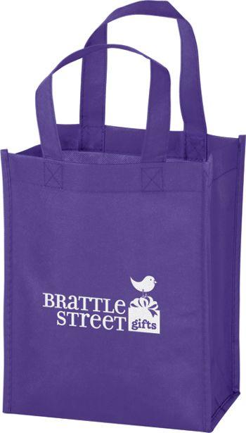 Purple Non-Woven Tote Bags, 8 x 4 x 10