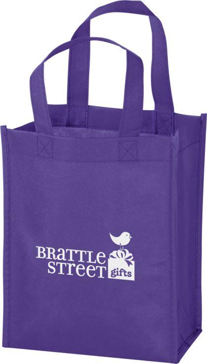 """Purple Non-Woven Tote Bags, 8 x 4 x 10"""""""