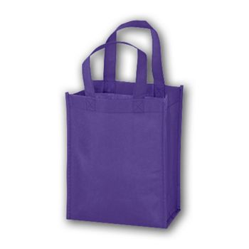 Purple Unprinted Non-Woven Tote Bags, 8 x 4 x 10