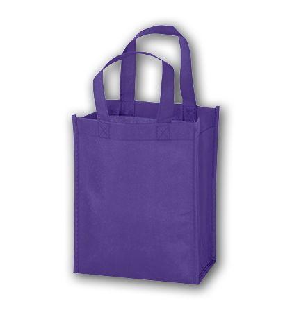 """Purple Unprinted Non-Woven Tote Bags, 8 x 4 x 10"""""""