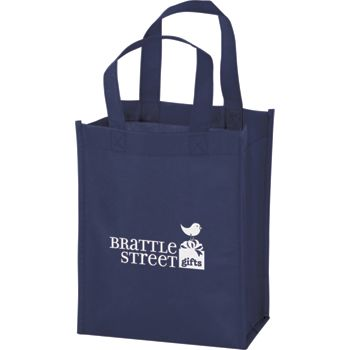 Navy Non-Woven Tote Bags, 8 x 4 x 10