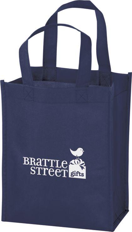 """Navy Non-Woven Tote Bags, 8 x 4 x 10"""""""