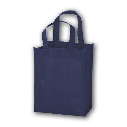 Navy Unprinted Non-Woven Tote Bags, 8 x 4 x 10