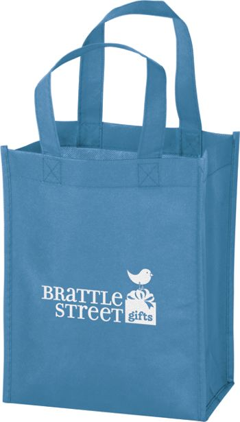 Cool Blue Non-Woven Tote Bags, 8 x 4 x 10
