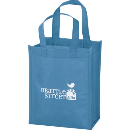 Cool Blue Non-Woven Tote Bags, 8 x 4 x 10""