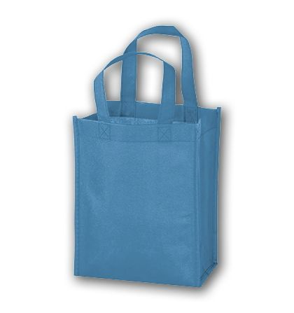 Cool Blue Unprinted Non-Woven Tote Bags, 8 x 4 x 10""
