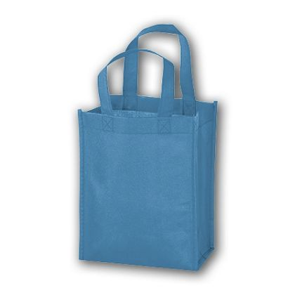 Cool Blue Unprinted Non-Woven Tote Bags, 8 x 4 x 10