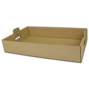 Kraft Handled Trays, 22 1/2 x 13 1/2 x 4