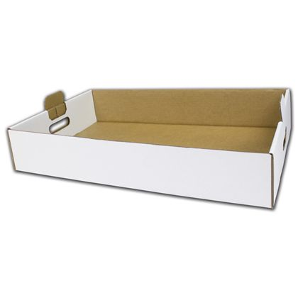 White Handled Trays, 22 1/2 x 13 1/2 x 4""
