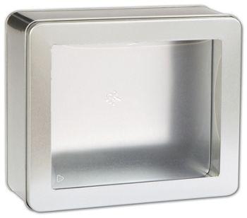 Silver Tin with Window, 8 x 6 3/4 x 3 1/8