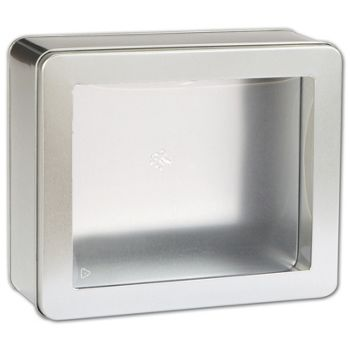 Silver Tin with Window, 8 x 6 3/4 x 3 1/8