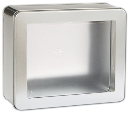 Silver Tin with Window, 8 x 6 3/4 x 3 1/8""