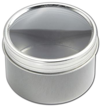 Silver Twist Top Tin Boxes with Window, 2 1/2 x 1 1/2